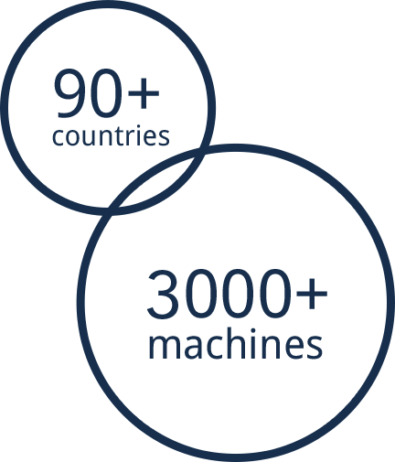 90+ countries, 3000+ machines.