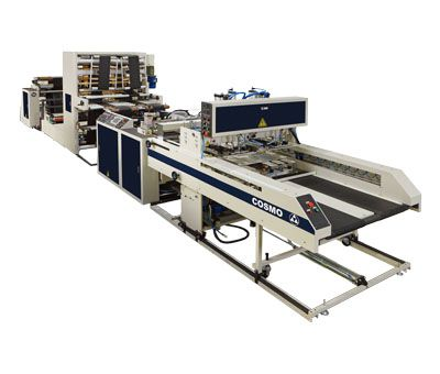 Fully Automatic High Speed 2 Lines T-Shirt Bags Making Machine With Hot Slitting And Side Gusseting Unit / ST-88-G2