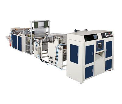 GARBAGE BAGS,TABLESHEETS-ON-ROLL MAKING MACHINE WITH (V,C,N,M SHAPE) FOLDING(CORELESS) / SMNR-1000