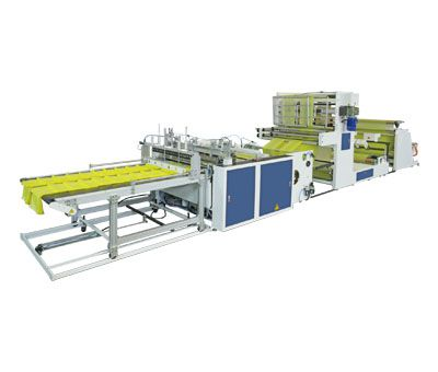 Fully Automatic High Speed 3 Lines Bottom Seal Bags Making Machine With Hot Slitting & Side Gusseting Unit . And Diecut Device / SB-1100-G3+D